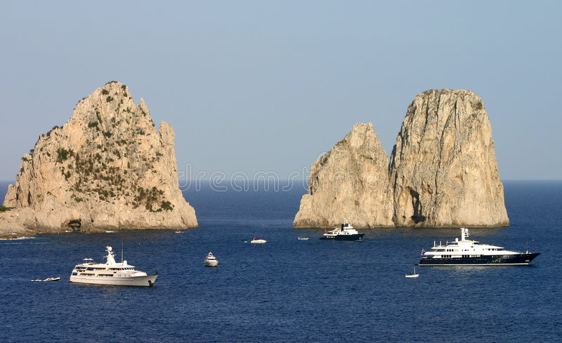 Yachts and cliffs stock image