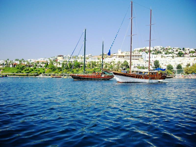 Download Yachts At Coast Of Aegean Royalty Free Stock Photos - Image: 12284028