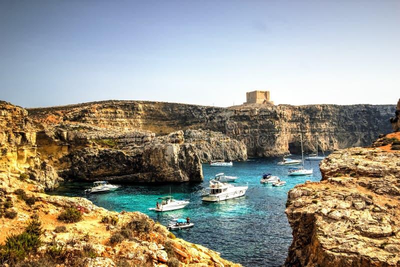 Yachts in Comino Island, Malta royalty free stock photos