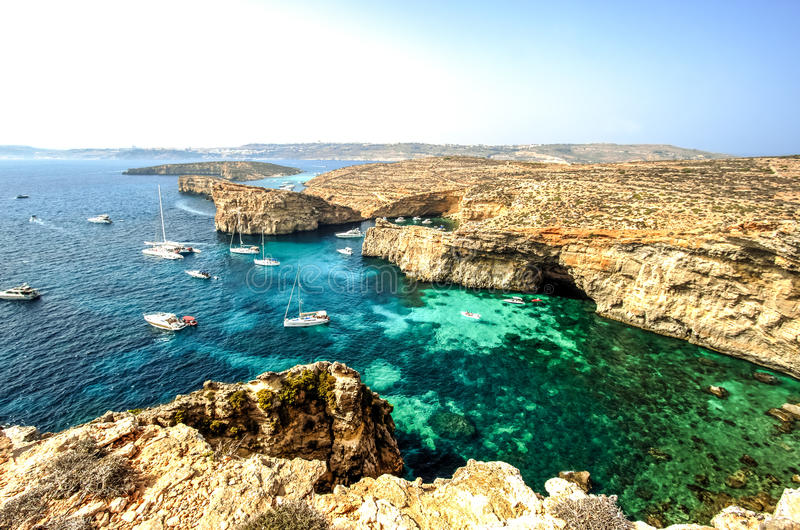 Yachts in Comino Island, Malta royalty free stock images