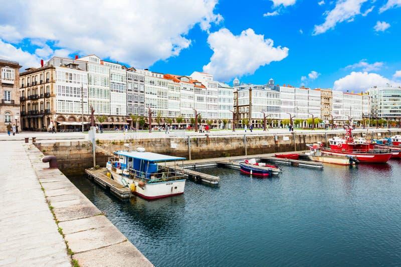 Yachts at A Coruna port, Spain. A CORUNA, SPAIN - SEPTEMBER 24, 2017: Yachts and boats at the A Coruna city port in Galicia, Spain royalty free stock images