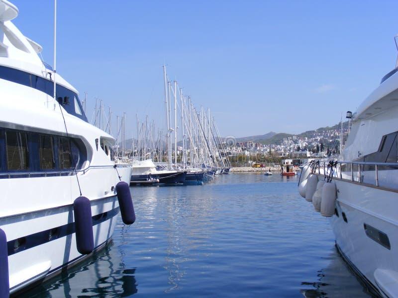 Yachts de luxe dans la marina photographie stock libre de droits