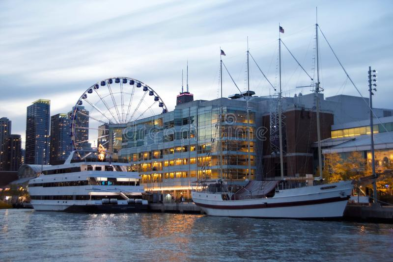 Yachts Docked at the Navy Pier at Sunset Chicago, Illinois stock images