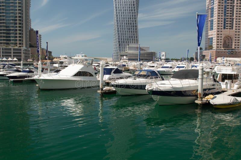 Yachts at Dubai Marina royalty free stock photos