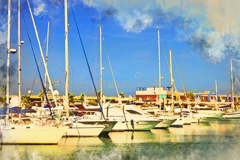 Yachts et bateaux à Torrevieja image libre de droits