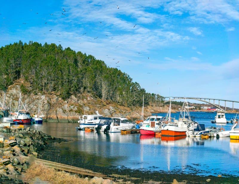 Yachts et canots automobiles amarrés dans la marina image stock