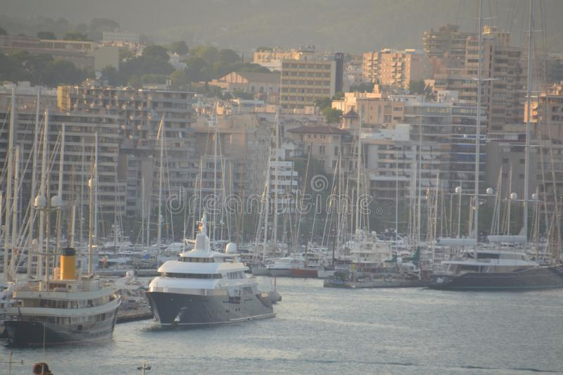 Yachts at harbour of Palma stock photos