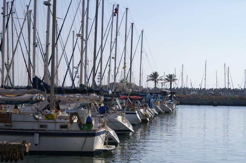 Yachts in Herzlia marina. Yachts in Israel royalty free stock photography