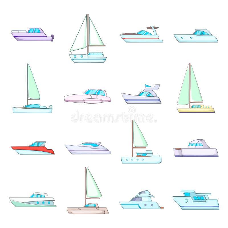 Yachts icons set, cartoon style. Yachts icons set. Cartoon illustration of 16 yachts vector icons for web royalty free illustration
