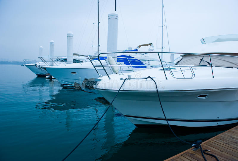 Yachts at marina stock photography
