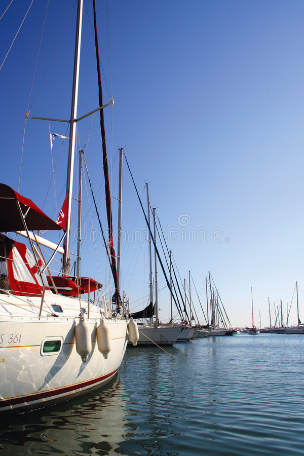 Yachts in Alimos Marina, Athens - Greece. Perspective shot of yachts in Alimos marina, Athens - Greece stock photography