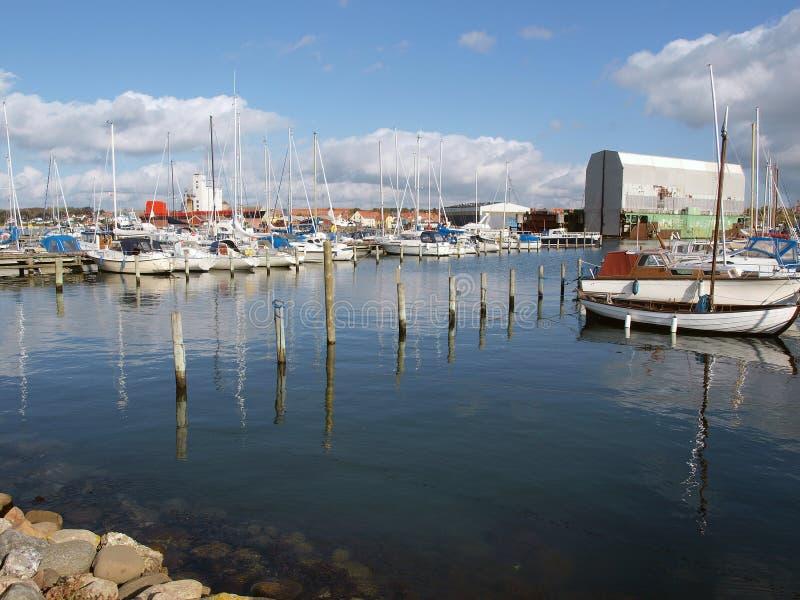 Yachts marina Assens Denmark. City Yachts marina Assens Funen Denmark stock image