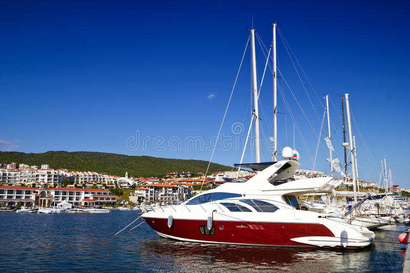 Yachts on the marina royalty free stock photos
