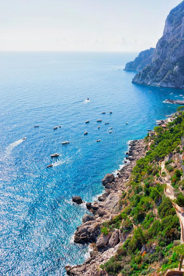 Yachts in Marina Piccola in Tyrrhenian Sea of Capri Island. Italy royalty free stock image