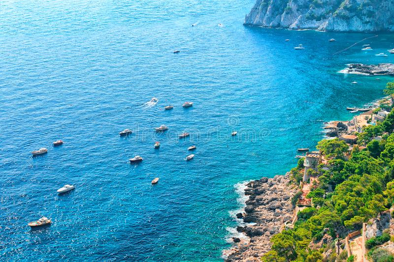 Yachts at Marina Piccola in Tyrrhenian Sea of Capri Island. Italy stock image