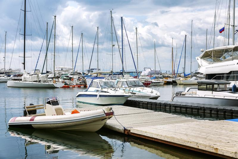 Yachts in the marina, sunny day royalty free stock images