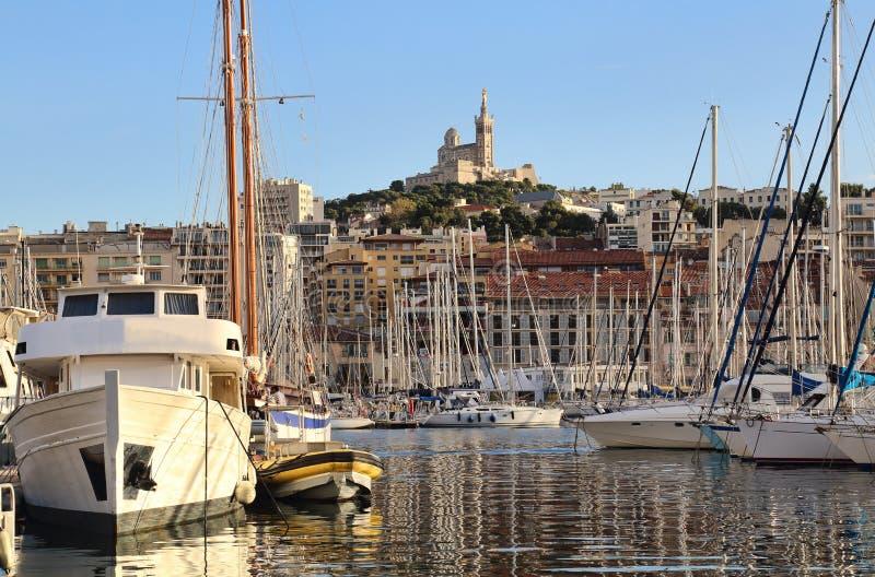 Yachts in Marseille harbor, France stock photos