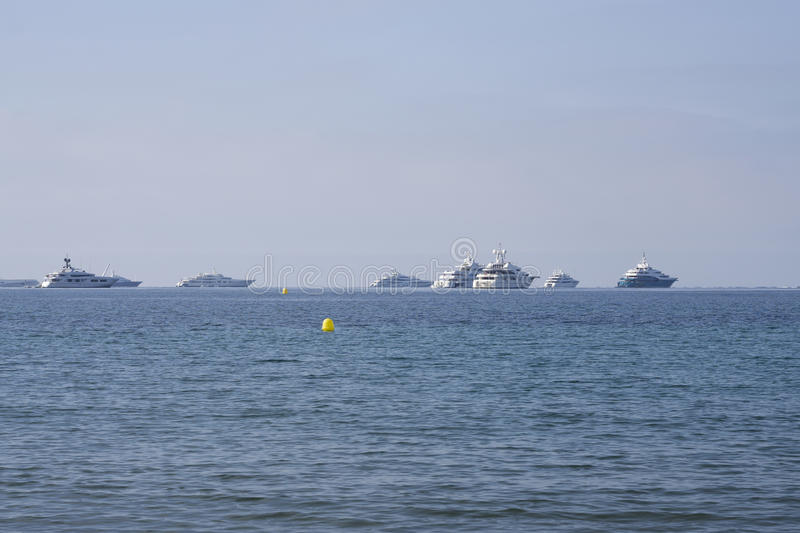 Yachts on the Mediterranean Sea, French Riviera stock photo