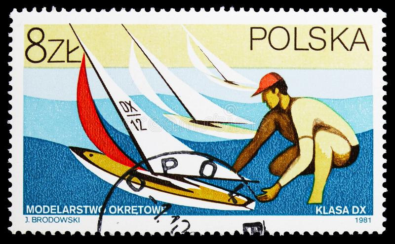 Yachts, Models serie, circa 1981. MOSCOW, RUSSIA - SEPTEMBER 15, 2018: A stamp printed in Poland shows Yachts, Models serie, circa 1981 stock photo