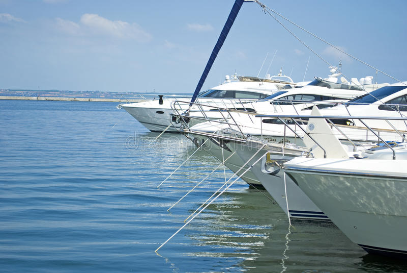 Yachts on the moorage. Black see, Odessa, Ukraine royalty free stock photo