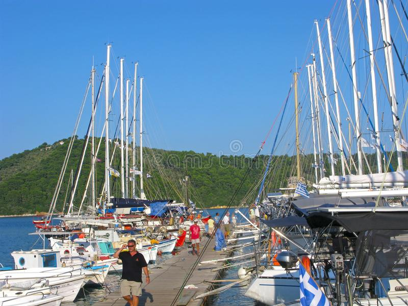Yachts moored in harbor of Skiathos island, Greece stock images