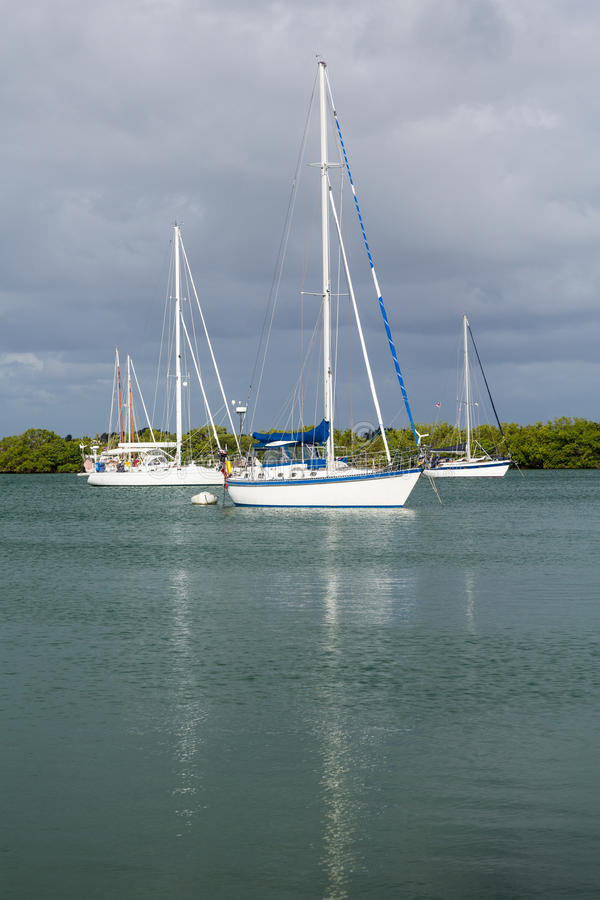 Yachts moored in no name harbor florida. Yachts and boats moored in No Name Harbor in Bill Baggs Cape Florida State park Key Biscayne Miami stock photography