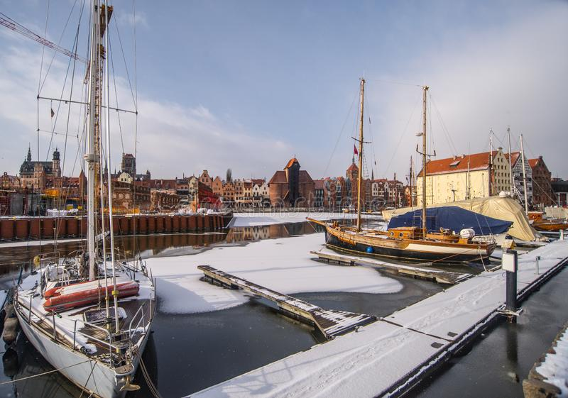Yachts mooring in harbor in winter time stock photography