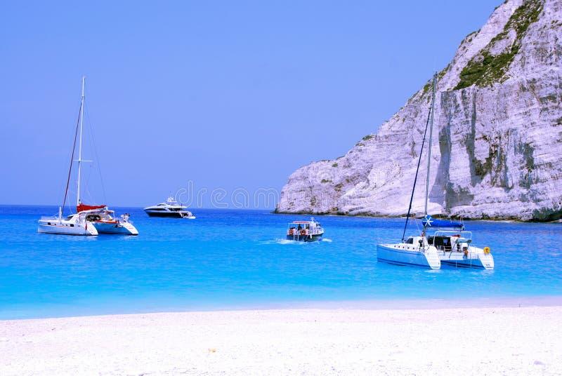 Yachts in Navagio Bay - Zakynthos stock photos