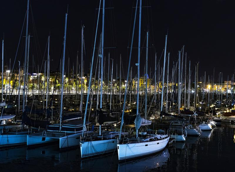 Yachts in the night port in Catalonia stock image