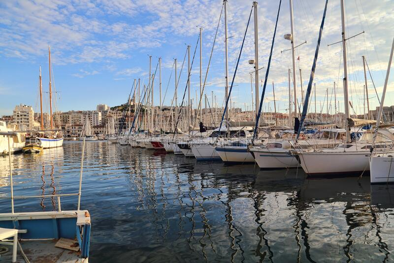 Yachts in the old harbor of Marseille in France stock photos
