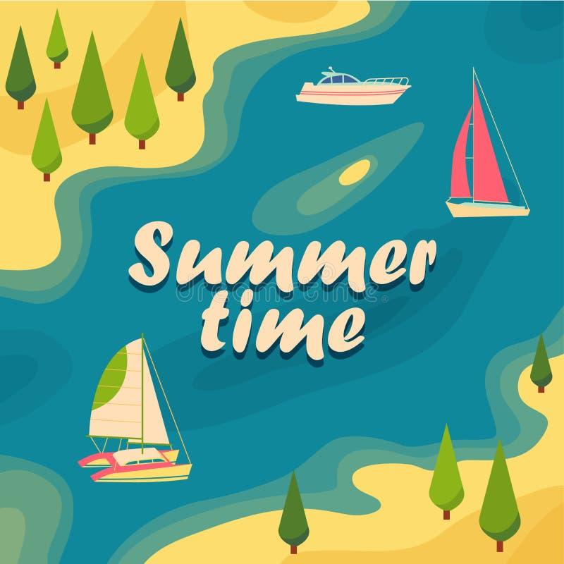 Yachts par la mer, dans la lagune illustration libre de droits