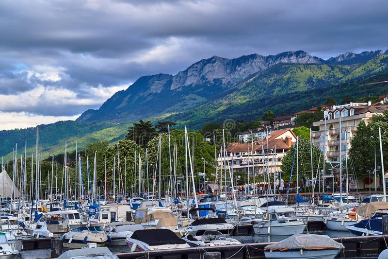 Yachts in the port of Evian on Lake Geneva stock images