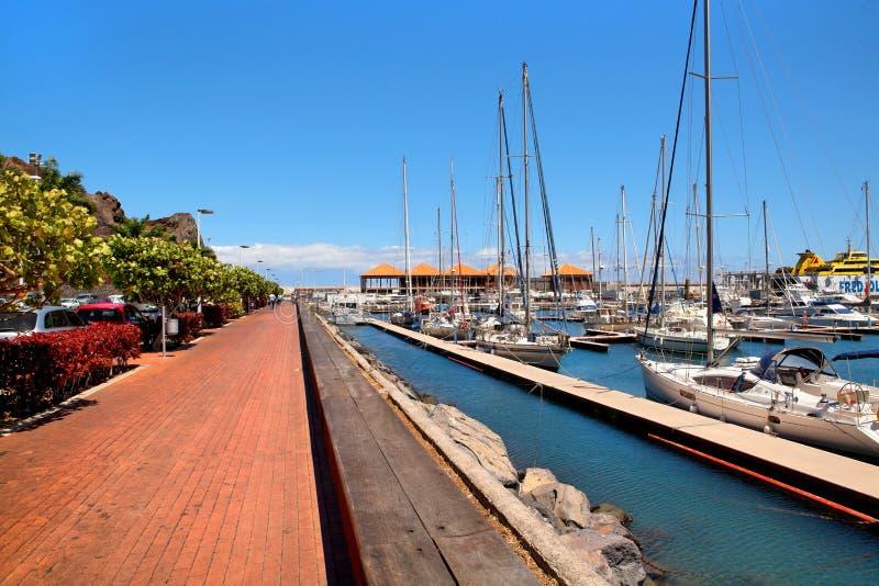 Yachts in the port San Sebastian, La Gomera royalty free stock images