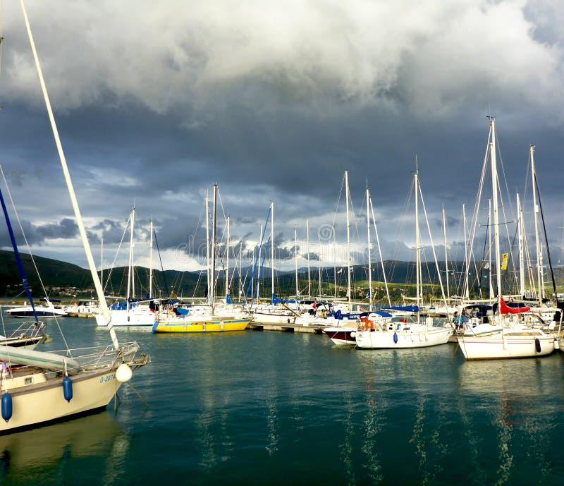 yachts Porticciolo di Leucade immagini stock libere da diritti
