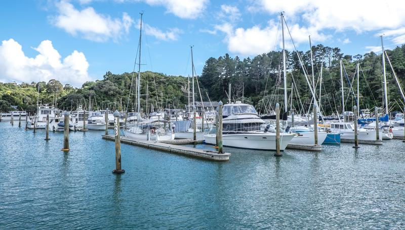 Yachts, sail bots and motor launches at Tutukaka Marina in North royalty free stock image