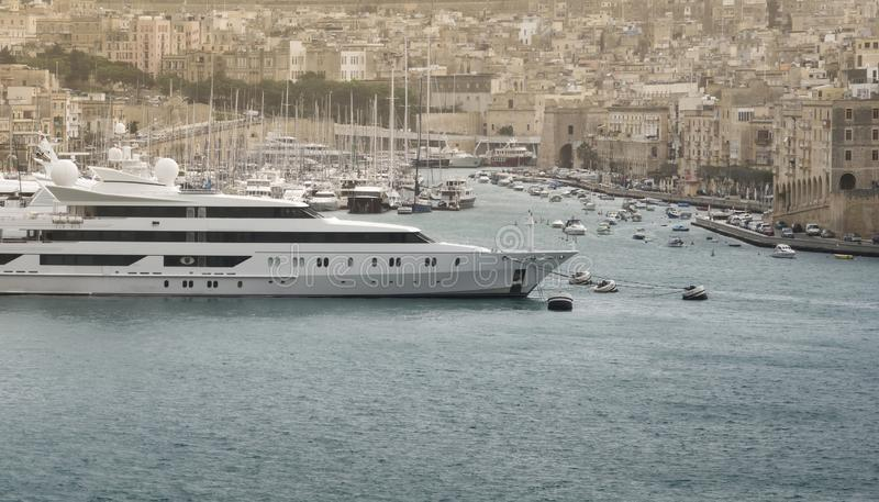 Yachts And Sailboats Moored At The Port Of Malta stock photo