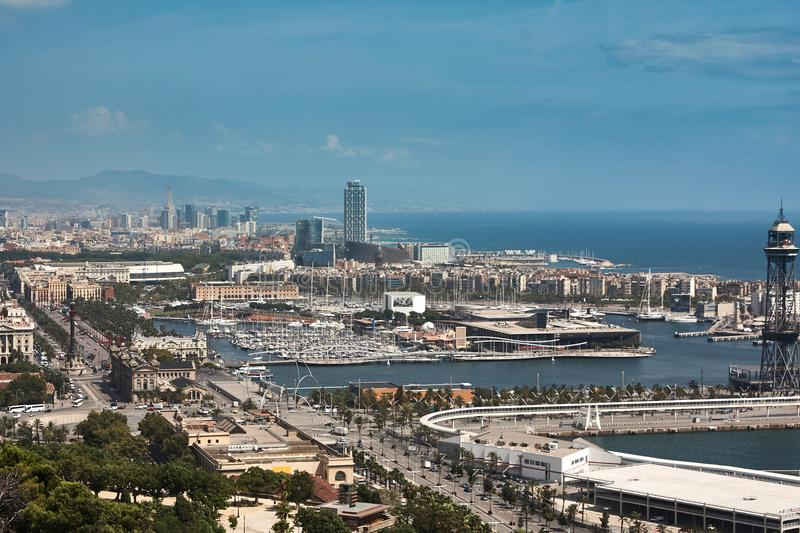 Yachts and sailboats moored in the Port Vell of Barcelona stock image