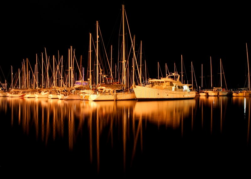 Yachts in Sandy Bay stock images