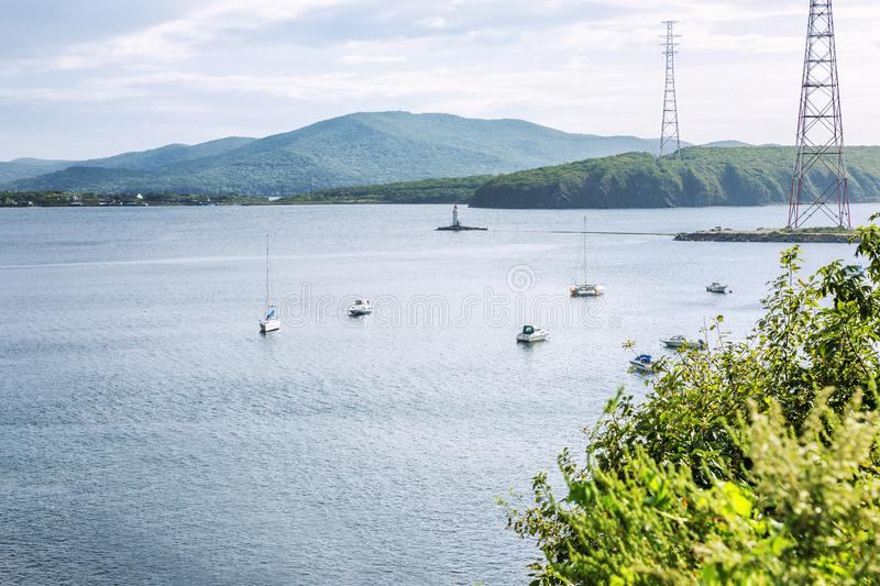 Yachts in the sea in a beautiful nature among the mountain landscape royalty free stock image