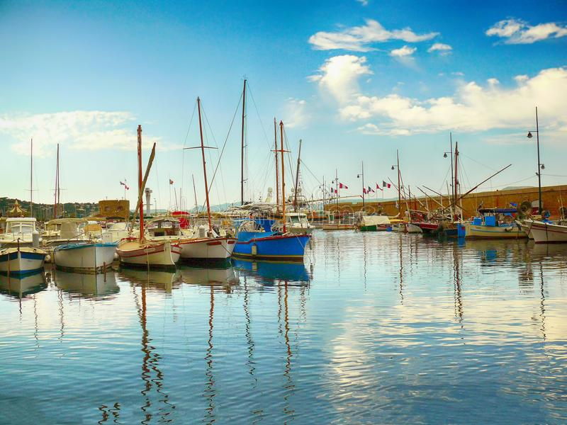 Yachts on the sea in port in Saint Tropez royalty free stock photos