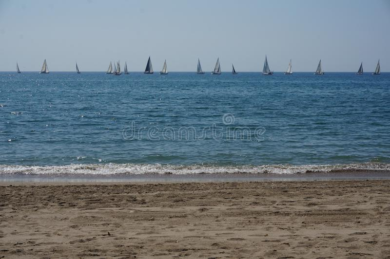 Yachts on the sea stock image