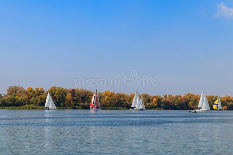 Yachts vid segling regatta vid floden Dnieper i Kremenchug, Ukraina arkivbild
