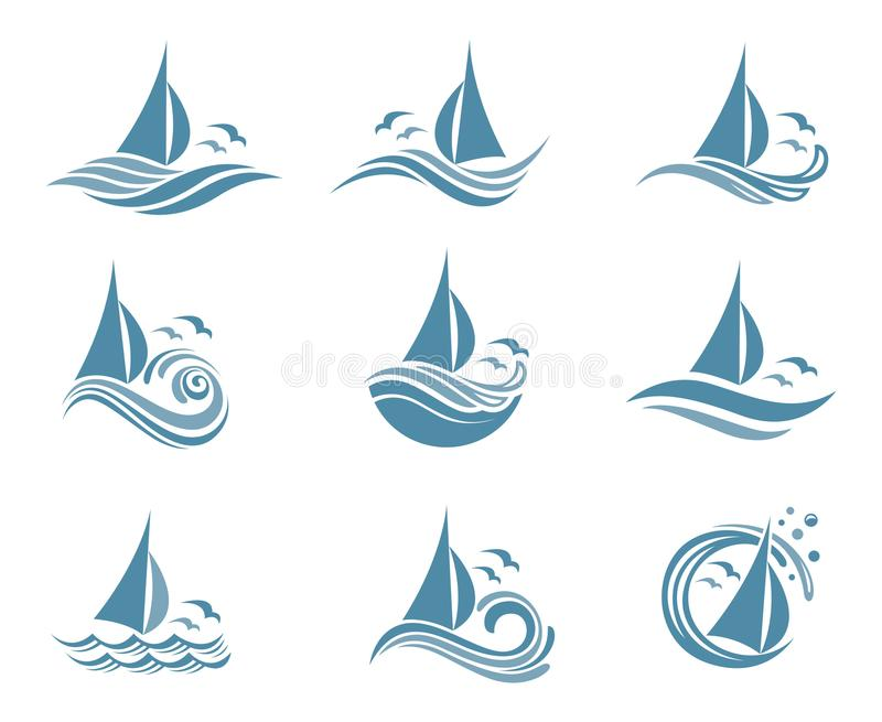 Yachts and waves icons. Icons collection of sailing yachts and ocean waves with seagulls stock illustration