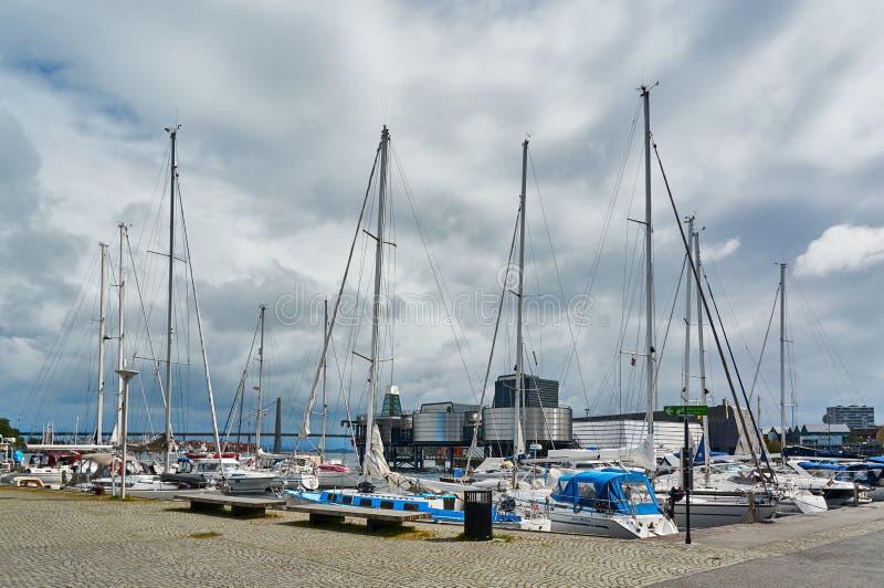 Yachts at wharf stock photography