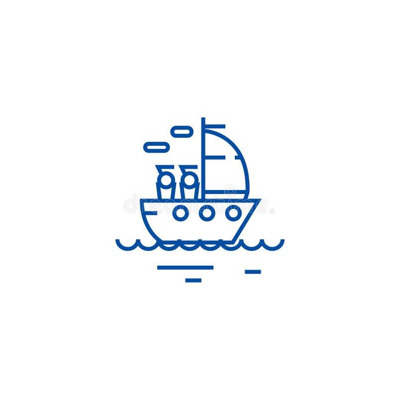 Yachtseglinglinje symbolsbegrepp Symbol för vektor för yachtsegling plant, tecken, översiktsillustration royaltyfri illustrationer