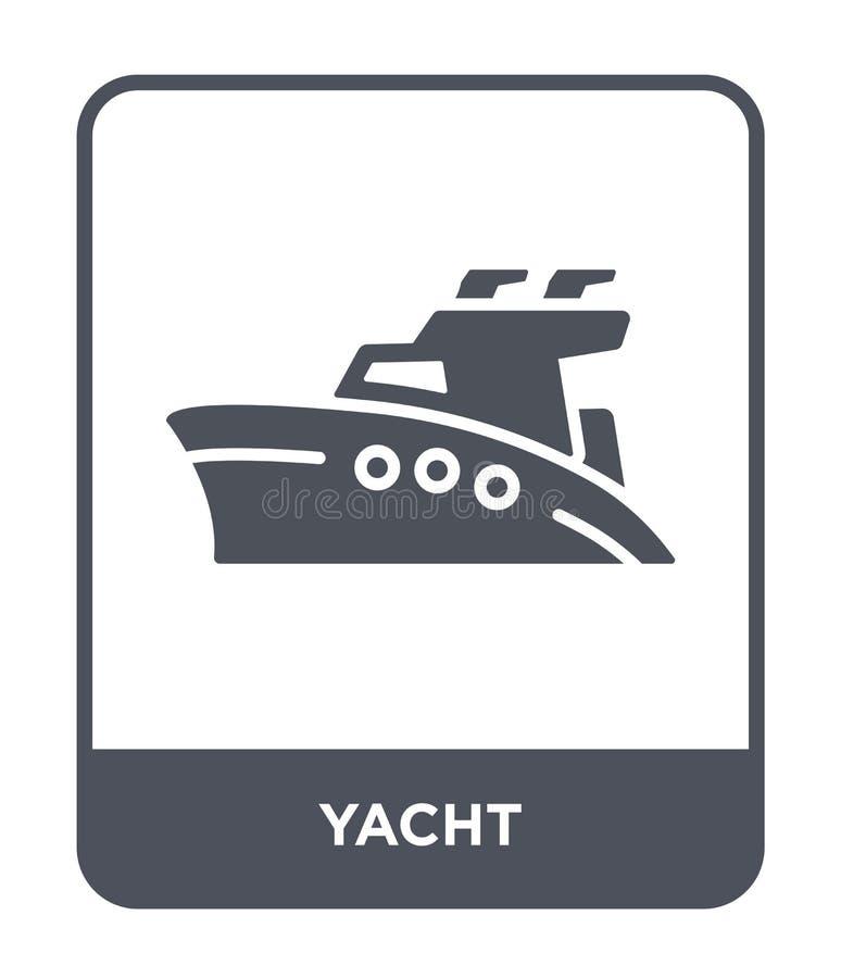 yachtsymbol i moderiktig designstil yachtsymbol som isoleras på vit bakgrund enkelt och modernt plant symbol för yachtvektorsymbo vektor illustrationer