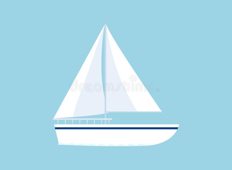 Yachtsymbol som isoleras p? bl?tt royaltyfri illustrationer