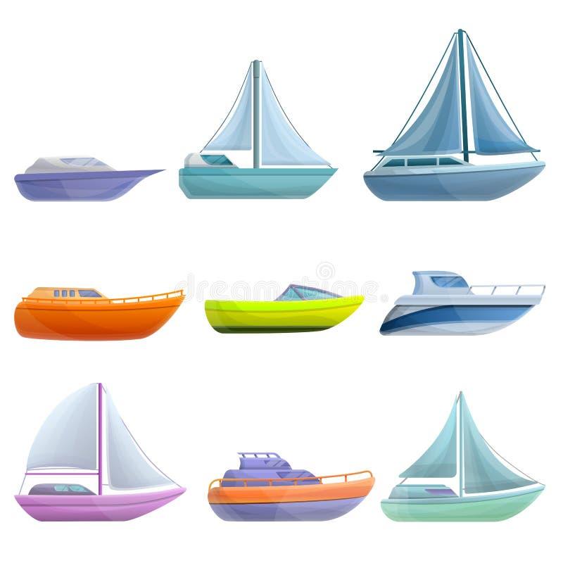 Yachtsymboler uppsättning, tecknad filmstil stock illustrationer