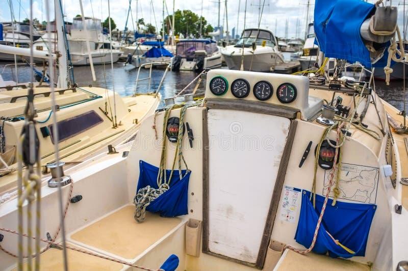 Yacth parks at the boatyard stock images