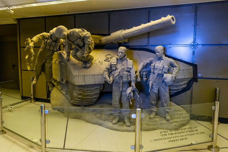 Israeli tank crew memory monunent. Israeli Armored Corps Museum at Latrun stock image